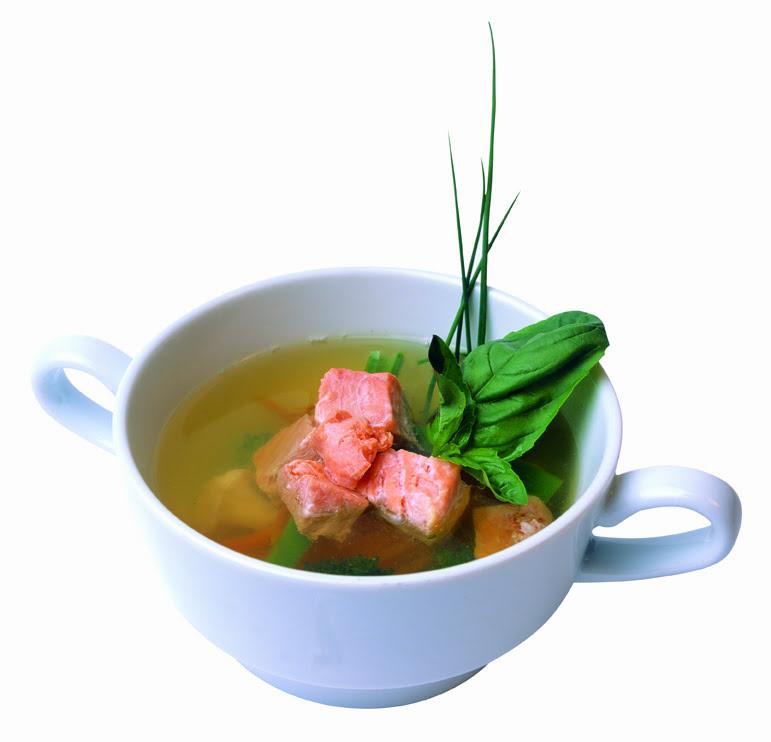 Sopa de Salmão com Ervas Finas e Porto Sêco